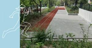 Begrünter Sportplatz mit Sprinter